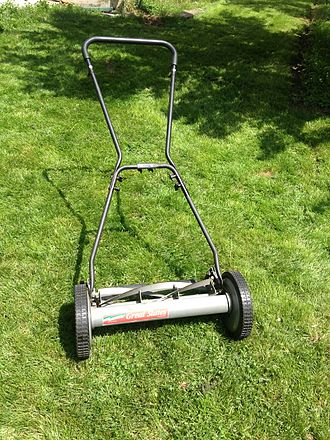 Lawn mower - A non-motorized multiple blade reel push mower.