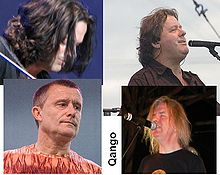 Qango. Clockwise from top left: Dave Kilminster, John Wetton, John Young, and Carl Palmer.