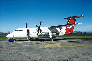 Hamilton Airport (New Zealand) - A Qantas New Zealand Dash 8 at Hamilton, September 2000.