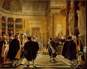 Le sénat français reçoit les drapeaux pris dans la campagne d'Autriche, 1er janvier 1806