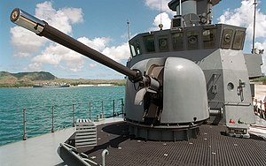 OTO Melara 76 mm - The OTO Melara 76mm Super Rapid gun mounted on the Victory-class corvette – RSS Valour (89)