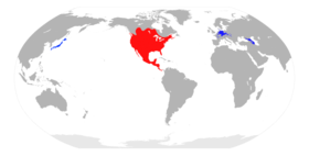 Native range in red, introduced range in blue
