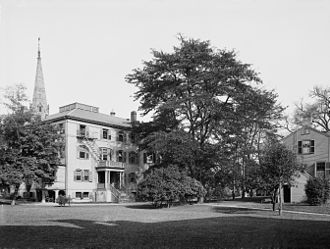 Radcliffe College - Among the earliest buildings at Radcliffe College were the Fay House and the gymnasium (photo c.1904).