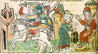Igor (given name) - Igor of Kiev, first from right. Illumination from the Radziwiłł Chronicle