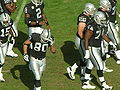 Raiders break huddle at Atlanta at Oakland 11-2-08.JPG