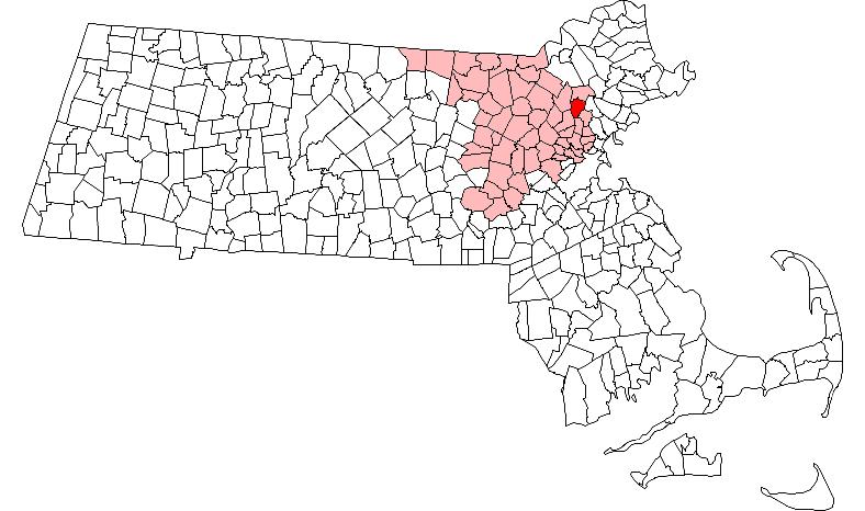 Location of Reading within Massachusetts