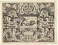 Rechthoekige cartouche met een putto die een vierspan ment Grottesco in diversche manieren… (serietitel), RP-P-OB-6182.jpg