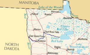 Red Lake River - Northwest Minnesota with the Red Lake River highlighted