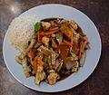Reis mit Bambussprossen Pilzen und Gemüse.JPG