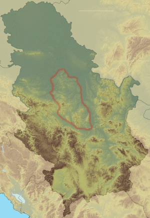 Šumadija - Image: Relief map of Serbia Šumadija