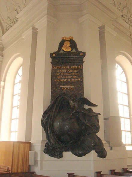 His memorial, erected in the 1720s, in the Adolf Fredriks kyrka Rene Descartes monument in the Adolf Fredriks Kyrka Stockholm 2.jpg