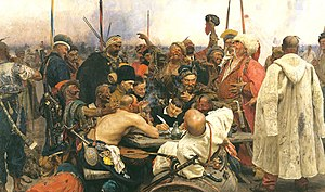 The Reply of the Zaporozhian Cossacks to Sultan Mehmed IV of Ottoman Empire. Painted by Ilya Repin from 1880 to 1891.
