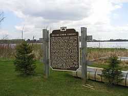 Historic marker at public boat landing, Hwy 102.