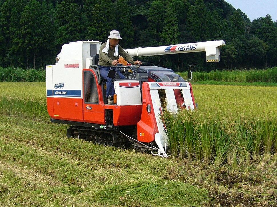 Rice-combine-harvester, Katori-city, Japan