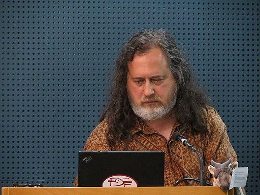 Richard Stallman preparing speech