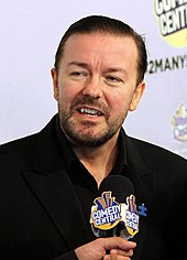 "Ricky Gervais at Comedy Central's ""Night of Too Many Stars"" in 2010."
