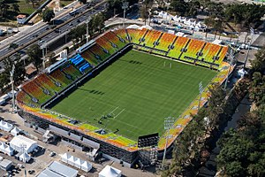 Rugby sevens at the 2016 Summer Olympics - Aerial view of the Deodoro Stadium, a temporary 15,000-seat stadium where all matches of Rugby sevens were held during the 2016 Summer Olympics.