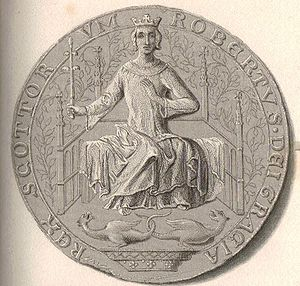 Alexander Stewart, Earl of Buchan - The seal of King Robert II of Scotland, reading ROBERTVS DEI GRACIA REX SCOTTORVM: Robert, by the grace of God, King of the Scots.