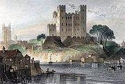 Rochester Castle engraved by H.Adlard after G.F.Sargent. c1836 edited