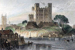 Rochester Castle from across the Medway. Engraving from image by G.F. Sargent c1836.