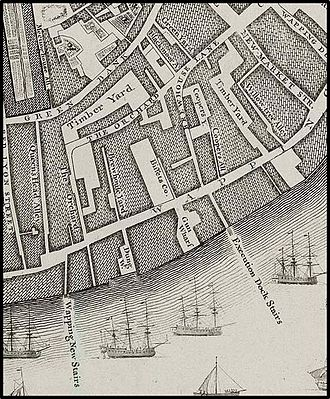 Execution Dock - Rocque's map of 1746 showing location of Execution Dock Stairs at Wapping, London