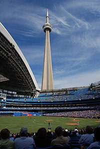 The CN Tower as seen from the interior of the Rogers Centre stadium