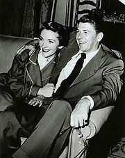 Ronald Reagan visiting Nancy Reagan on the set of her movie Donovan's Brain, 1953.