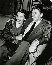 Ronald Reagan visiting Nancy Reagan on the set of her movie Donovan's Brain, 1953.