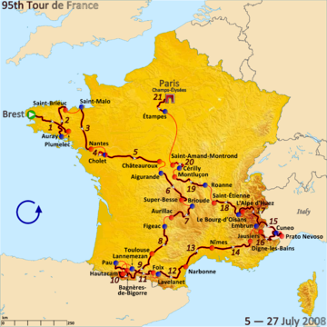 Route of the 2008 Tour de France