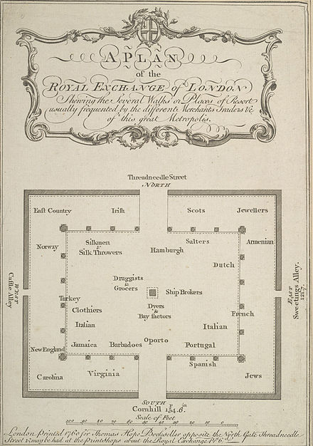 Plan of the London Royal Exchange in 1760 Royal Exchange 1760.jpg
