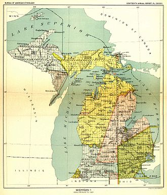 Treaty of Washington (1836) - The 1836 treaty ceded the yellow (Royce No. 205) area covering eastern Upper Peninsula and the northwestern Lower Peninsula of Michigan.