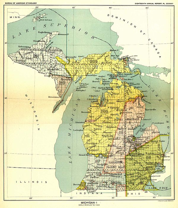 In the 1836 Treaty of Washington, Michigan tribes ceded claims to lands in the yellow (Royce No. 205) area above – covering eastern Upper Peninsula and the northwestern Lower Peninsula of Michigan to the United States – and opened it to settlement.