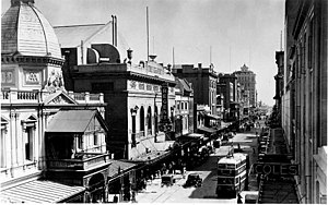 Rundle Mall - Rundle Street looking west, 1938. Adelaide Arcade and the then Regent Theatre on the left.