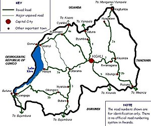 Rwandan Civil War - Map of Rwanda with towns and roads