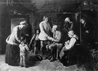 Swedish diaspora - The Emigrants by S. V. Helander (1839–1901): a young Swedish farmer says farewell of friends and relatives before emigrating