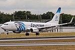 "SU-GEH EgyptAir Boeing 737-866(WL) with ""85 years sticker"" coming in from Cairo (CAI) @ Frankfurt - Rhein-Main International (FRA) - 15.07.2017 (35550876510).jpg"