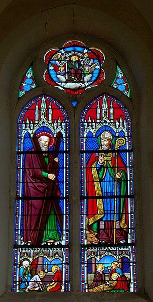 Église Saint-Germain de Saint-Germain-le-Guillaume (53). Baie 00. 1e'r registre: Sainte-Famille de Nazareth; Mort de Saint-Joseph. 2d registre: Saint-André; Saint-Germain. Tympan: Saint-Pierre.