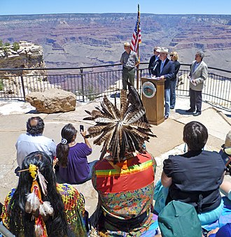 Marcia McNutt - McNutt at Grand Canyon National Park with Secretary Salazar and other officials to mark an extended moratorium on uranium mining.
