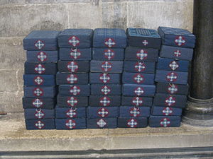 Tuffet - Hassocks stacked up in Salisbury Cathedral