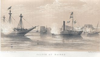 20 Battery Royal Artillery - The last surviving ship under Colonel F R Chesney's command taking the salute from ships in the port of Basrah