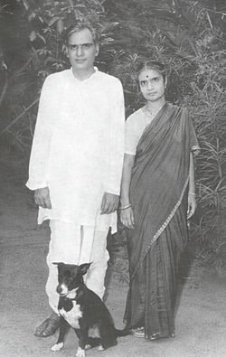 Sambhu Prasad S with hid wife Smt Kamkshamma and their Pet Dog Tchaikovsky.jpg