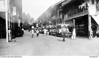 Sandakan - A street scene of the town in 1939 just before the beginning of World War II