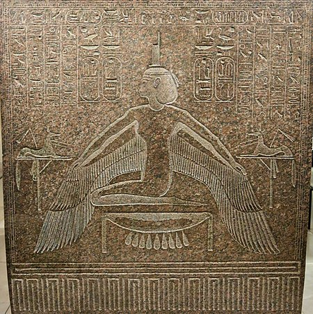 Relief of a woman kneeling on a stool and spreading her arms, to which wings are attached