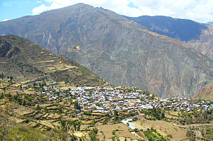 Millka - The archaeological site of Millka lies on top of the mountain northeast of Sarhua (on the left)