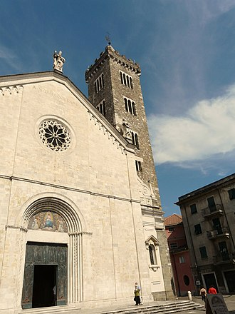 Sarzana Cathedral - West front and campanile