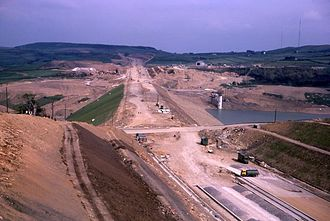 Scammonden Reservoir - Scammonden Dam under construction in 1970
