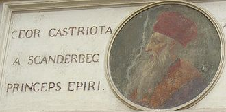 Siege of Krujë (1466–1467) - Skanderbeg's portrait above the entrance to the palace where he stayed in Rome