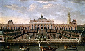 Monbijou Palace - Monbijou Palace, riverside, oil on canvas, about 1739 (with Sophienkirche tower in the background)