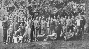 Tabor Academy (Massachusetts) - The schoolboys and headmasters of the International Schoolboy Fellowship outside the École du Montcel in summer 1928. Walter H. Lillard is pictured center