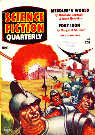 """Mack Reynolds - """"Meddler's World"""", a novelette by Reynolds and Theodore Cogswell, was the cover story on the November 1955 issue of Science Fiction Quarterly"""